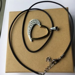 Jewelry - Heart Shaped Pendant Necklace with leather strap